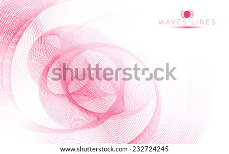 pink sky soft waves line fractal light abstract background vector - stock vector