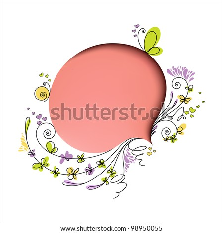 Pink speech bubble with floral elements on white background - stock vector