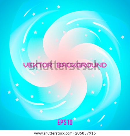 Pink spiral vortex with stars.Vector eps 10 , - stock vector