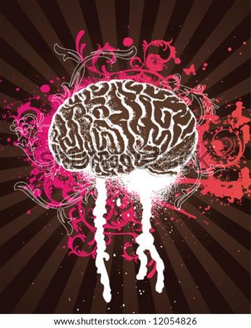 Pink Splatter Brain - stock vector