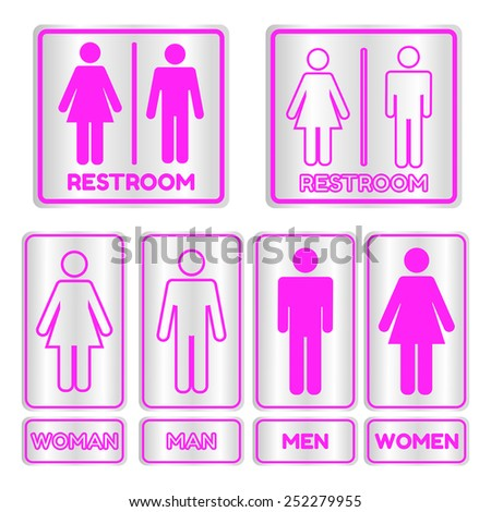 Pink square restroom  Sign set with text,Vector illustration - stock vector