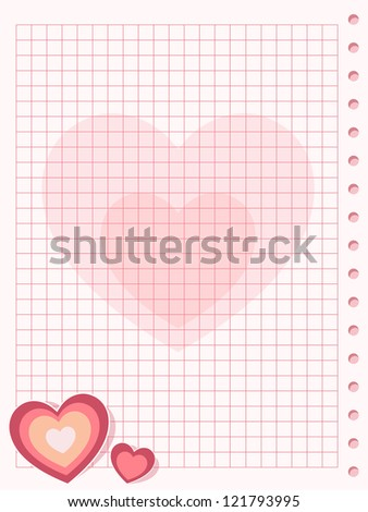 Pink squared paper sheet background with heart - stock vector