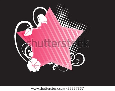 Pink Star Shaped Abstract Floral Frames Stock Vector 22837837 ...