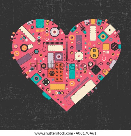Pink steam punk heart with different color element shapes on black grunge background. Vector illustration - stock vector