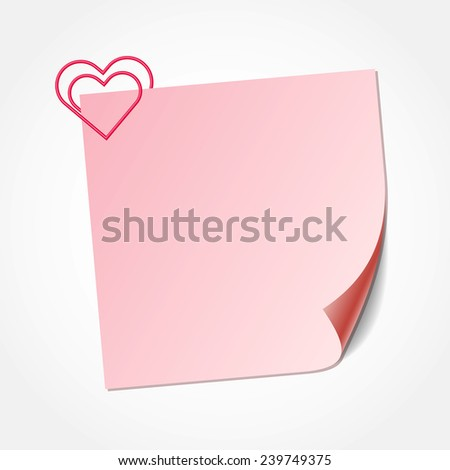 Pink sticky note isolated on white background, vector illustration.