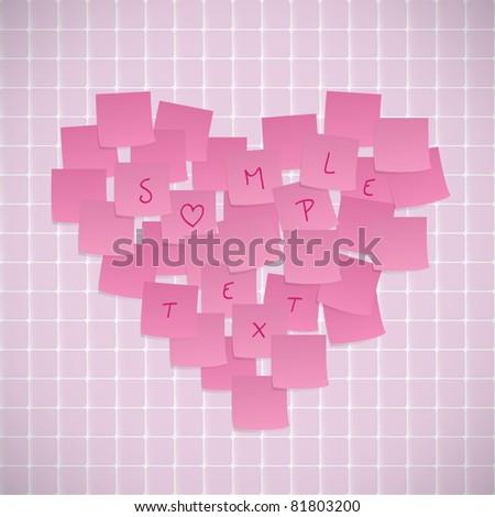 Pink Sticky Notes Valentine Card - stock vector