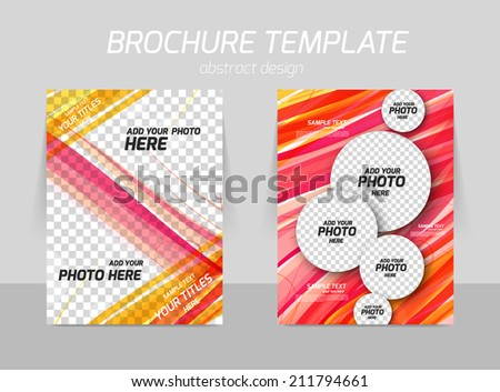Pink straight line back and front flyer template design - stock vector