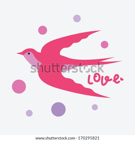 Pink swallow valentine card - stock vector