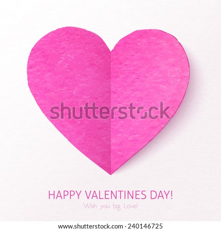 Pink textured folded vector heart - stock vector