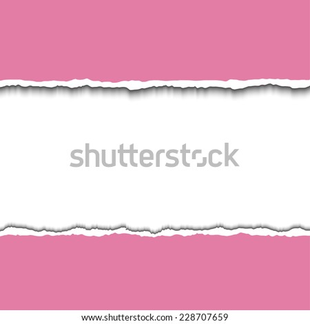 Pink torn paper strips with space for your test. Vector EPS10 illustration. Design elements - colored paper with ripped edges - stock vector