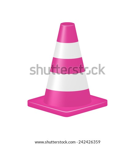 Pink traffic cone  - stock vector