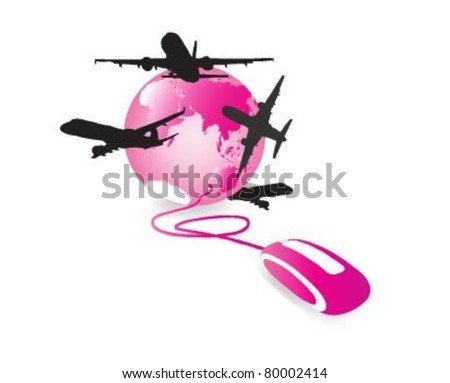 Pink translucent computer mouse connected to a pink glossy globe and airplanes . - stock vector