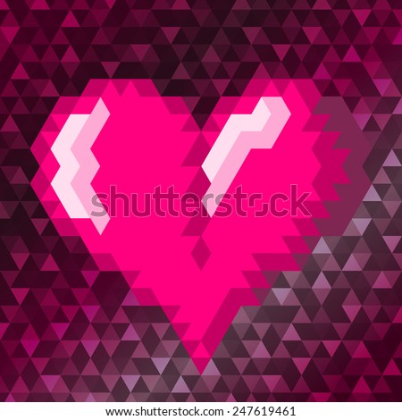 Pink triangle heart on the pink colored background. Vector illustration. - stock vector