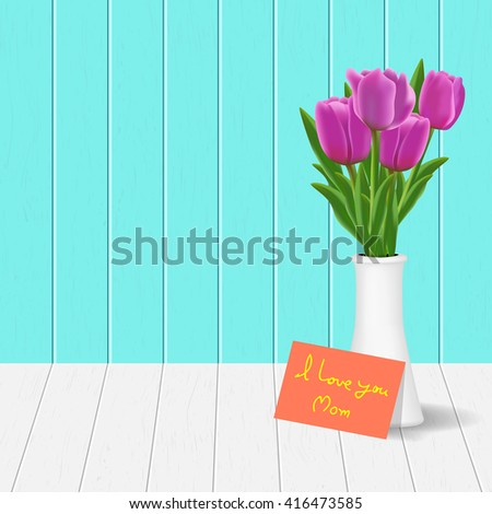 Pink tulips in the vase with mother's day card on the plank of wooden in vector format , EPS10, for your design , greeting card  - stock vector