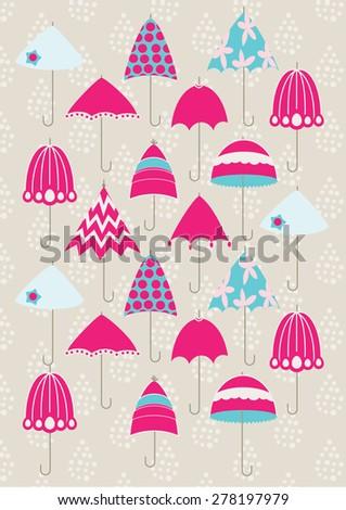 Pink Umbrella Pattern - stock vector
