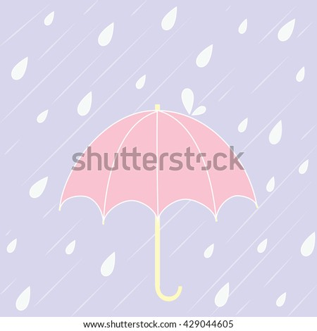 pink umbrella with raining on purple background vector design
