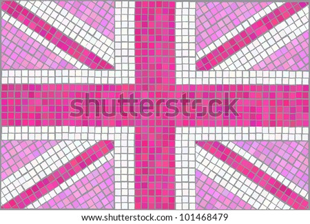 Pink Union Jack. Vintage mosaic style. EPS10 vector format. - stock vector