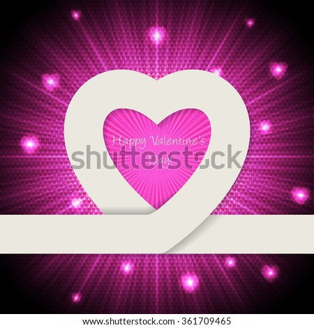 Pink valentine day greeting card with heart ribbon and bursting background - stock vector