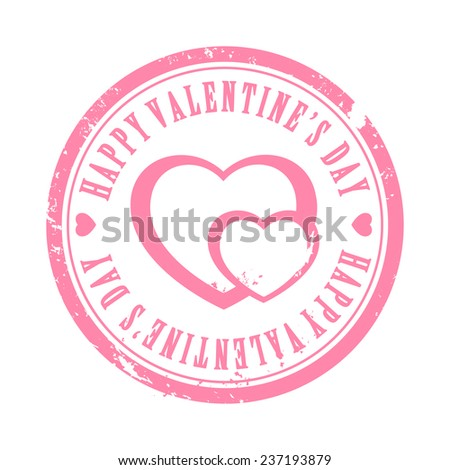 Pink Valentine hearts stamp with text holiday illustration - stock vector