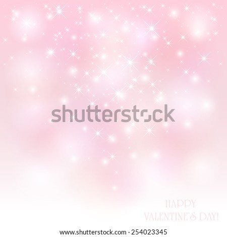 Pink Valentines background with shiny stars, illustration. - stock vector