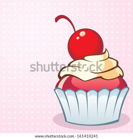 Pink Vector Background with a Tasty Cream Cupcake with Cherry as Topping - stock vector