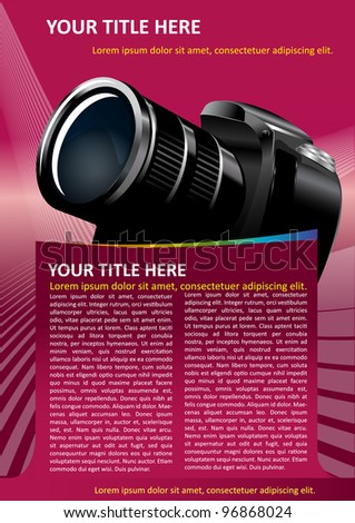 Pink vector background with DSLR Camera for text - stock vector