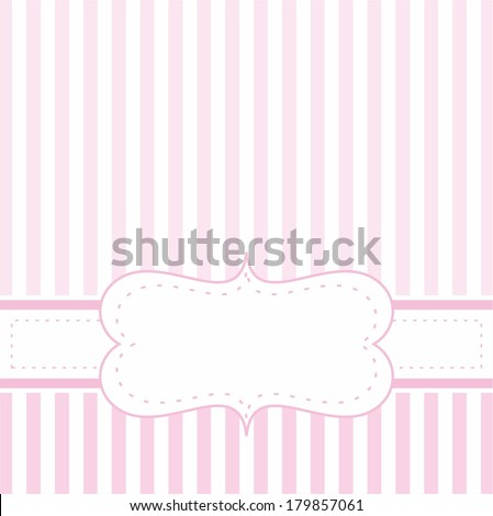 Pink vector card invitation for baby shower, wedding or birthday party with white stripes. Cute background with white space to put your own text. - stock vector