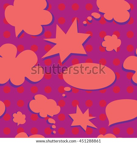 Pink Vector Colorful Speech Bubbles Pattern. Colored Stickers Seamless Background