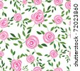 Pink vector rose seamless flower background pattern, floral fabric vintage wallpaper. Cute backdrop. - stock vector