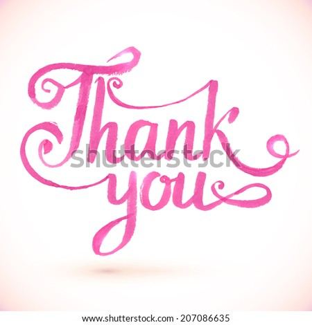 Pink vector Thank you hand-drawn sign - stock vector