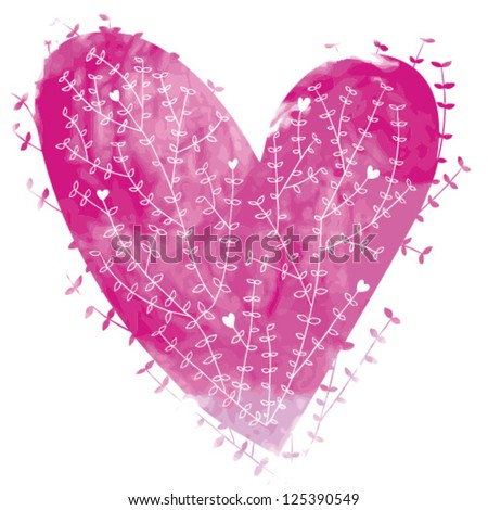 Pink vector watercolor heart with floral ornament - stock vector