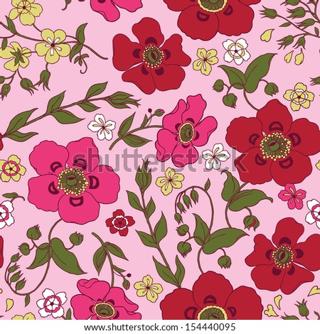 Pink Victorian Floral Seamless Pattern. Copy that square to the side and you'll get seamlessly tiling pattern which gives the resulting image ability to be repeated or tiled without visible seams. - stock vector