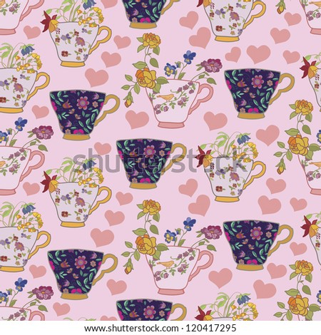 pink vintage seamless with cups and flowers - stock vector