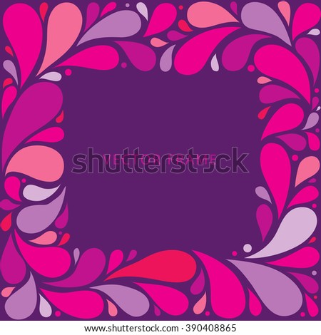 Pink violet curly abstract floral frame. Vector illustration