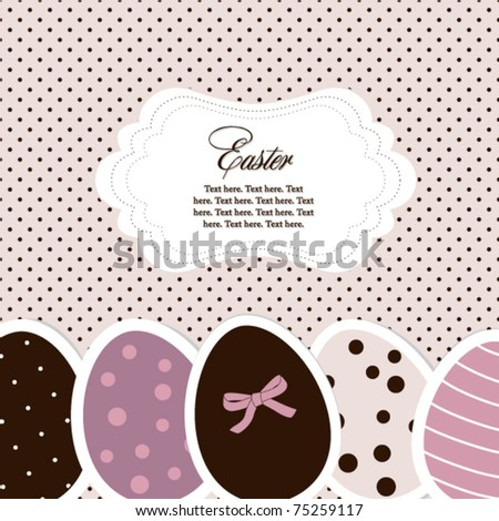 Pink-violet easter eggs card with frame - stock vector