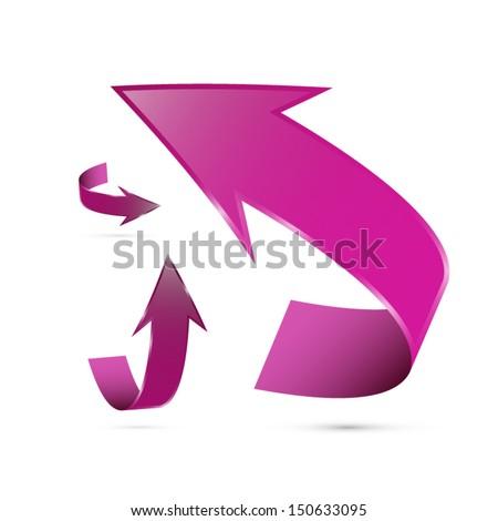 Pink, Violet Vector Arrows Set - stock vector