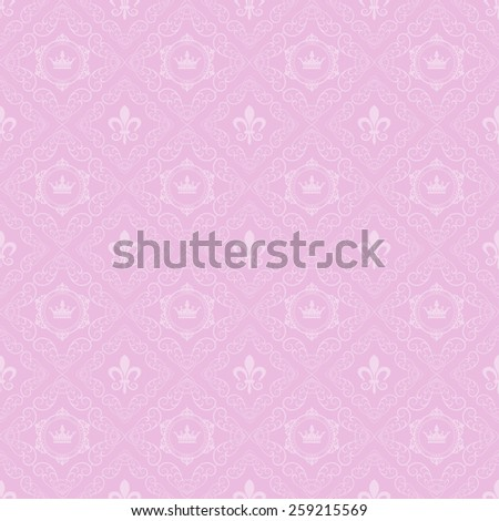 pink wallpaper in old style for your design - stock vector