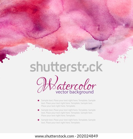 Pink watercolor blots pattern top abstract frame - stock vector