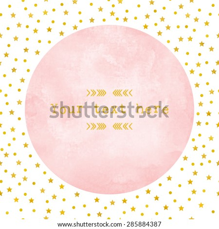 Pink Watercolor Circle Paper Background Gold Stock Vector
