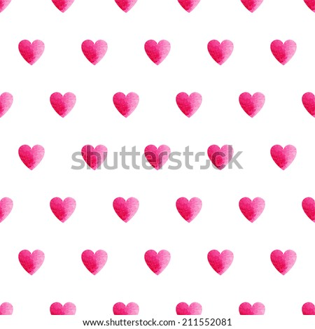 Pink watercolor heart shape seamless vector pattern, simple isolated background on white background - stock vector