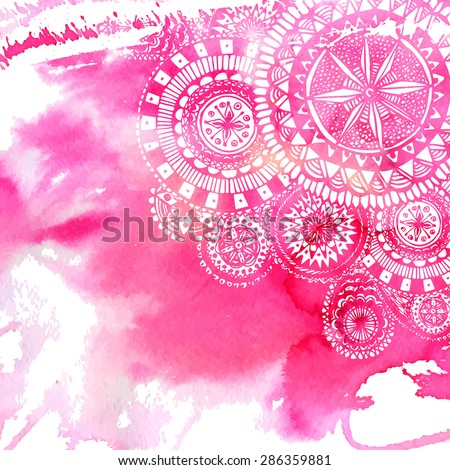 Pink watercolor paint background with white hand drawn round doodles and mandalas. Vector design of backdrop. - stock vector