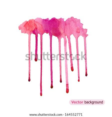 Pink watercolor rainy cloud. Vector illustration - stock vector