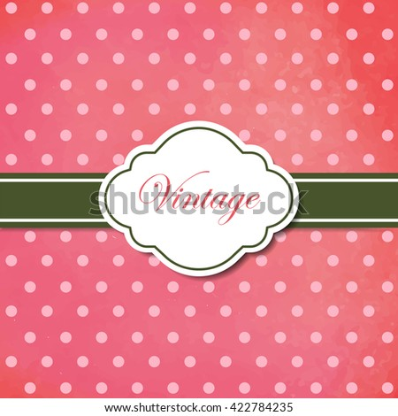 Pink watercolor vintage style frame. Vector illustration.