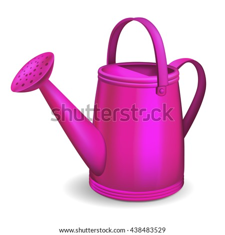 Pink watering can. Isolated on white background.