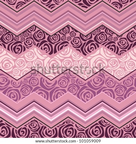 pink wave zigzag - stock vector