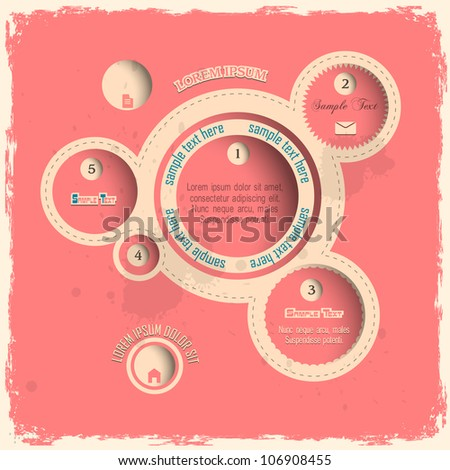 Pink web design bubbles in vintage style. Vector template - stock vector