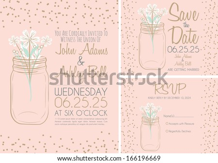 Pink Wedding Invitation Card Design Collection with Mason Jar in Vector - stock vector