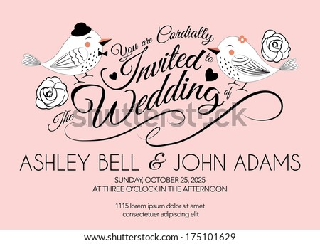 Pink Wedding Invitation Card with Bird in Vector - stock vector