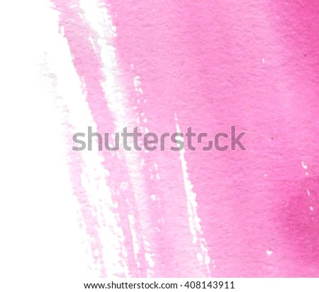 Pink white watercolor wet brush paint torn strokes vector stylized colorful banner. Abstract artistic hand drawn paper grain texture card for greeting, wallpaper, web. Vivid splatter design element - stock vector