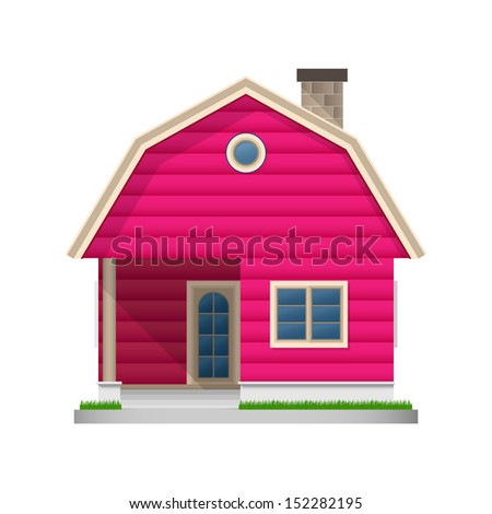 Pink wooden house icon on white background - Vector illustration - stock vector